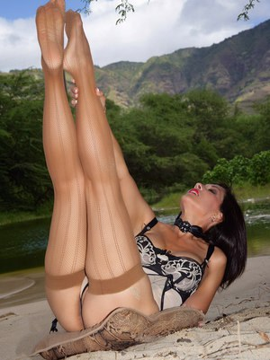 Hot mature Roni splashing in the water in stockings and erotic lingerie