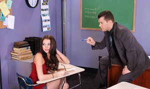 Flirtatious coed hottie Missy Stone gets shafted in the class room