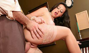 Promiscuous office MILF in old fashioned stockings Penny Flame fucking