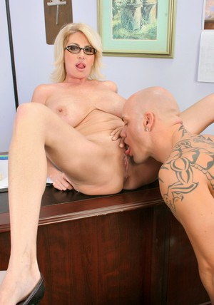 Busty MILF teacher in glasses Penny Porsche bent over desk and fucked