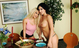 Two superb MILFs Gina Lynn and Mindy Main stripping and licking