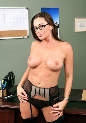 Busty MILF teacher in glasses Sky Taylor strips to gartered stockings