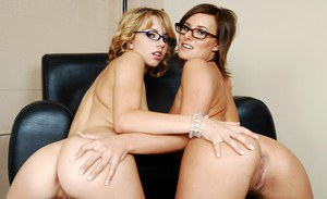 Cute coed girls in glasses stripping and licking buttholes and cunts