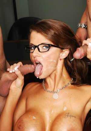 Mature teacher in glasses Joslyn James gets banged by two horny studs