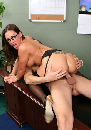 MILF teacher in glasses and stockings Sky Taylor bouncing on a cock