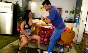 Chubby latina stripped from her dress and fucked hardcore on the table