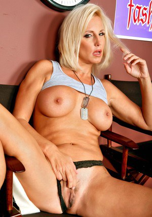 Striking mom in military uniform T.J. Hart revealing big boobs and ass