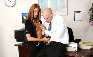 Tempting office babe with small boobs gets shafted hardcore on the desk
