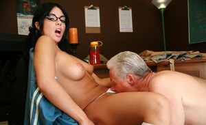 Tempting coed in glasses Lorena Sanchez screwed hardcore on the table