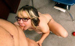 Coed in glasses Pinky Lee punished for sleeping in class with fucking