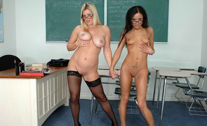 Mature teacher and sexy coed in glasses exposing their fuck holes