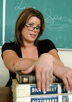 Big titted mature teacher in glasses Lisa Sparxxx spreading her twat