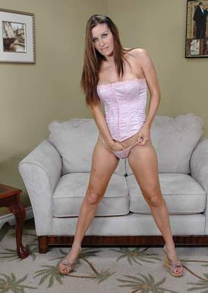 Lovesome MILF strips from jean miniskirt and white satin corset