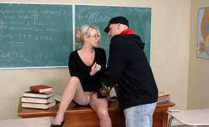 Blond MILF teacher Carolyn Reese fucking huge dick on her table