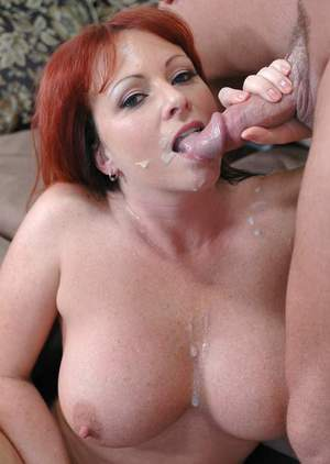 Mature redhead with round boobs Kylie Ireland fucking massive cock