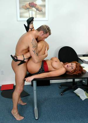 Big titted MILF Samantha Lucci licked and fucked hardcore in the office