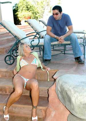 Busty mom Chennin Blanc stripped from bikini and dicked on the couch