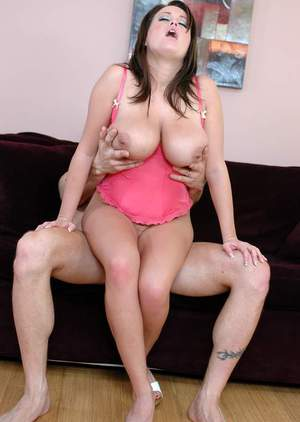 Enchanting babe Brandy Talore fucking cock with boobs and shaved slit