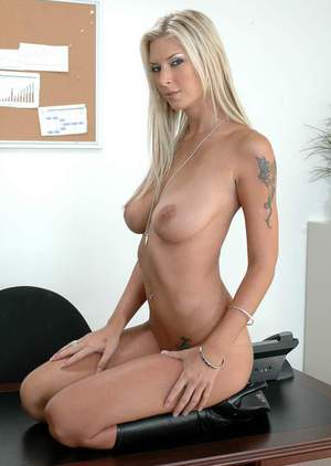 Hot office secretary Brooke Banner strips nude and flaunting in boots