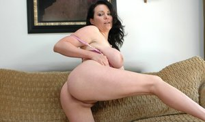Puffy wife Angelica Sin revealing huge boobs and flashing hairy pussy