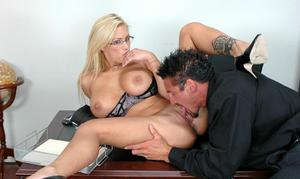 Alluring office babe in glasses Shyla Stylez getting drilled at work