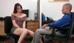 Asian office hottie in glasses Ktsuni scoring hard cock to fuck at work