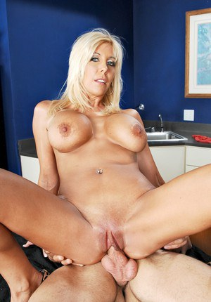 Heated blond mom with ripe boobs Misty Vonage bouncing on stiff cock