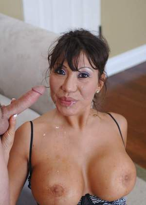 Mature asian slut Ava Devine brings out big tits and fucks in stockings