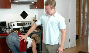 Big titted mature blonde Kelly Leigh shafted hardcore in the kitchen