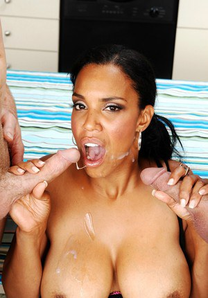 Sexy ebony MILF Soleil got screwed by two dicks in hot groupsex action