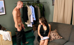 Asian mature Ava Devine stripped to gauzy corset and fucked hard