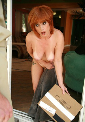 Ravishing mature redhead got fucked and has her boobs covered in cum
