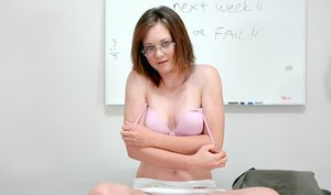Adorable coed babe in glasses Lucy Sky revealing tiny tits and pussy