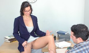 Mature sex teacher with big boobs Cynthia Pendragon fucked on her desk