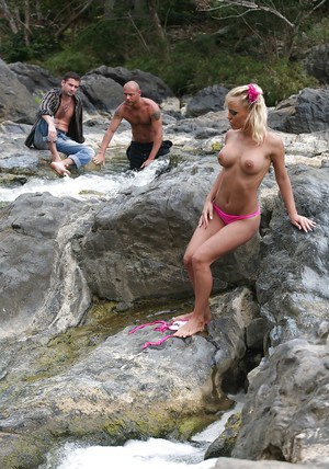 Fervent pornstar with shapely boobs enjoys hot outdoor orgy