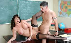 Mature sex teacher with puffy hooters Maya Divine dicked in class