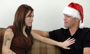 Sexy teen with round boobs Allie Sin in costume X-mas fucking