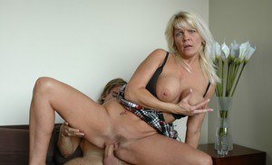 Busty mom Jerrika Michaels fucks hard and scores cum load on her juggs