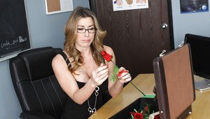 Big titted MILF teacher in glasses Kayla Paige shafted on her desk