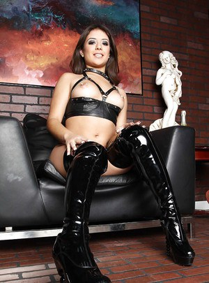 Hot latin wife in fetish lingerie and boots exposing small tits