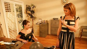 Charming office babe Monique Alexander stripped to stockings and fucked