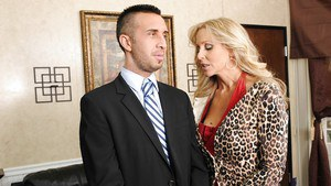 Hot MILF with huge tits Julia Ann fucking stiff rod with her wet slit