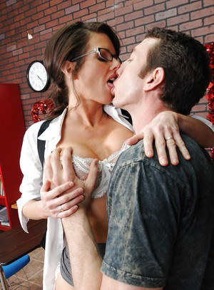 Big titted teacher in stockings Veronica Avluv shafted on her desk