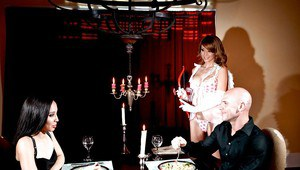 Hot babe in Cupid costume Monique Alexander fucked on the dinner table