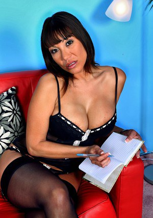 Mature asian wife Ava Devine rubbing wet pussy in black stockings