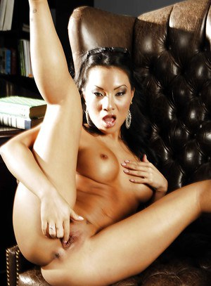 Steamy asian babe Asa Akira stripping in office and posing solo