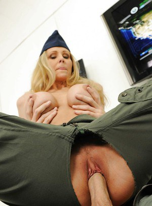 Hot babe in military uniform Julia Ann gives titjob and fucks dirty