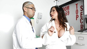 MILF with huge tits in uniform Ariella Ferrera fucked and facialized