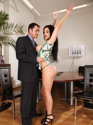 Sexy office MILF with big boobs Aletta Ocean fucked in her asshole