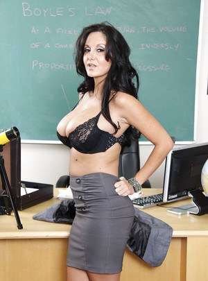 Hot MILF teacher Ava Addams exhibiting huge tits at school